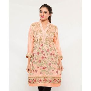CARDINAL KNKE3  - Peach Embroidered Cotton Khadi Kurti For Women