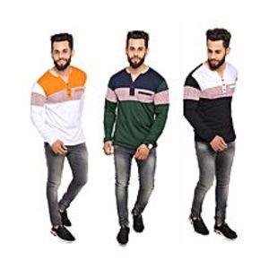 StyleoPack Of 3 V-Neck Button Strip T-Shirts For Men