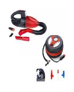 Pack of 2 - Car Vacuum Cleaner & Car Air Compressor Pump - Red