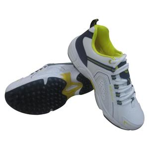CF Sports Shoes 700-A-1 White/Navy/Yellow, Cricket Shoes, Jogging Shoes,  Men Joggers