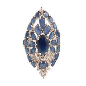 Blue Sapphire Stone SIlver Ring Women