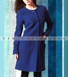 Pack of 1 - Stylish Navy Blue Winter Warm Fleece Long Coat For Women