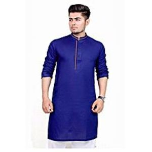 khareeedlopkBlue Cotton Stitched Kurta For Men