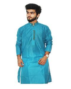 Sky Blue Stitched Cotton Kurta For Men