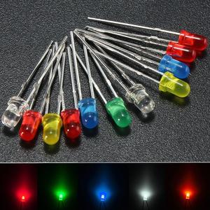 The Old Tree 100Pcs 3mm Round Top LED Diodes Light White Yellow Red Blue Green Assortment DIY
