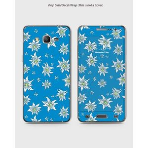 Samsung Grand Prime Plus Phone Skin Front Back And Sides Devil Eye- 1Wall260 Blue with White Flowers 1Wall260