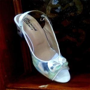 White Floral Printed High Heel Sandal for Women