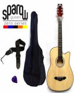 Spzero Beginners Acoustic Folk Cutaway Guitar 38 Inch (Natural) Free Bag/Strap/Pick