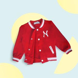 Casual Style Top Cotton Full Sleeved Baseballs Jackets for babies and kids - Red