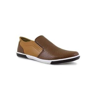 Brown Leather Dotted Loafer Shoes For Men