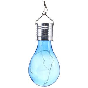 Solar Rotatable Outdoor Waterproof Garden Camping Hanging LED Light Lamp Bulb Blue Cover