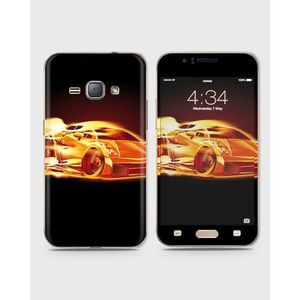 Samsung Galaxy J1 2015 (J100) Skin Wrap With Front Back And Sides Burning Car-1Wall168