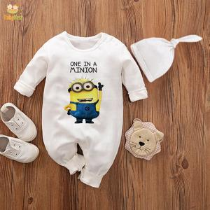 Baby Jumpsuit With Cap One in a minion (WHITE)