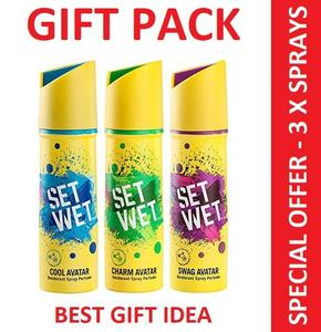 SETWET 3 x Body Spray Deodorant Perfume 150 ml GIFT PACK Gifts for Men Girl Boy Ladies