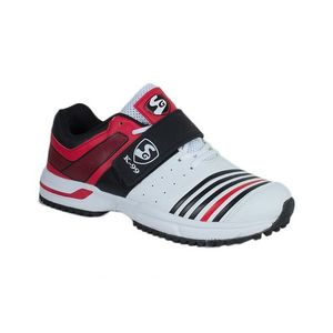 White & Red Synthetic Sports Shoes for Men
