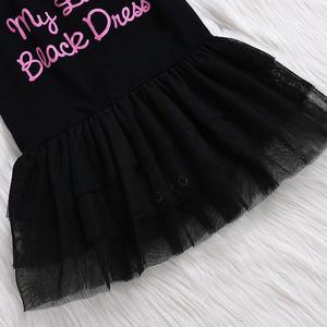 MissFortune Girls Baby  Letter Print Short Sleeve Children Formal Jumpsuit Ball Gown Dress