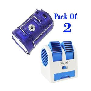 Pack of 2- Solar Rechargeable Camping Lantern Light & USB Mini Fan - Blue