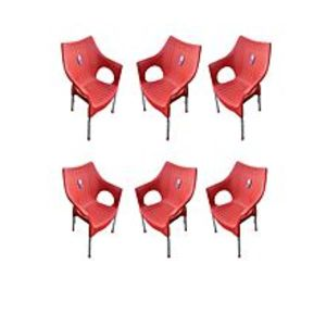 CHIEF(Boss) Set Of 6 Rattan Plastic Chairs - Red