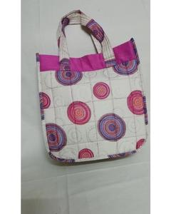 Ladies Cotton Handbags - Pink & White