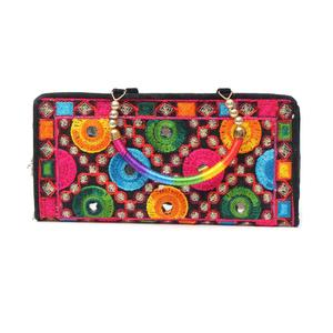 Artificial Leather Embroidery Ladies Clutch Wallet Card/Cell holder