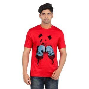Ace Red Cotton Boxer Panda Printed T-Shirt for Men