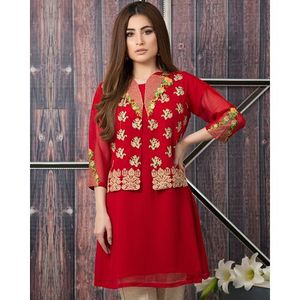 Red Fidore Chiffon Shirt with Embroidered Jacket for Women