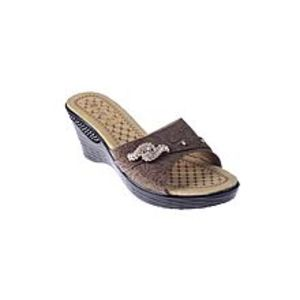 Maya TradersBrown Synthetic Leather Wedge for Women - QQ187
