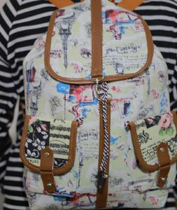 Canvas Backpack - Laptop Backpack Girls College, Uni And School Bags - Multicolour