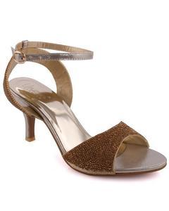 "Gold Women ""ANSA†Kitten Heel Embellished Open Toe Sandals L29731 55203a12b4f"