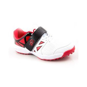 White & Red CR Synthetic Cricket Sports Shoes for Men