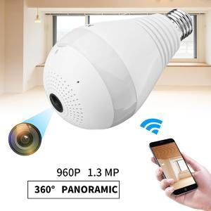 1.3MP HD Wifi 360° VR Panoramic View Smart Light Bulb Camera Monitoring