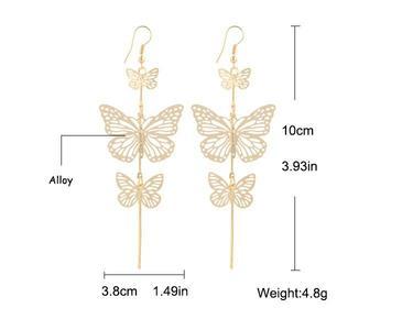 Gold - Butterfly Drop Earrings  For Women Girls - CIE42
