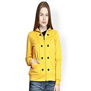 Abdul CollectionYellow Fleece 8 Button Zipper Winter Hoodie for Women