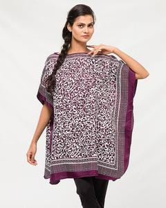 Dark Purple & White Polyester Printed Poncho for Women - PON09 PU03