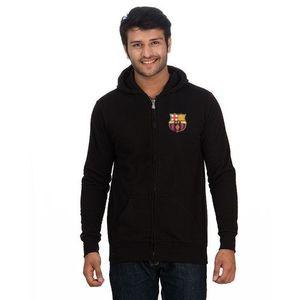 Black Cotton & Fleece Printed Zipper Hoodie For Men - RCPA-ZHood-FCBBl