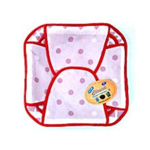 Quickshopping Pink Dotted Cotton Roti Basket - Square