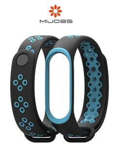 Sports Strap For Mi Band 3 - Black and Blue (Special Design)