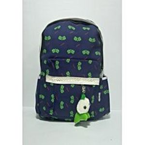 kharido Blue Backpack Bag with Flower Print