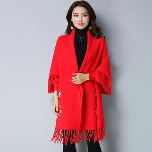 Designer Red Flower Shawl For Women