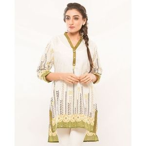 White Olive Lawn Cotton Kurti for Women