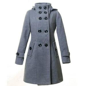 Grey Hooded Long Coat For Women
