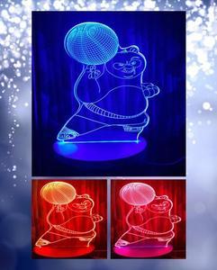 Kungfu Panda Shape 3D Acrylic Lamp With Plastic Base
