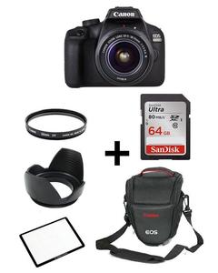 Pack Of 7 - Canon DSLR EOS 4000D With 18-55mm, 64GB,V Bag,Lens Filter,Screen Protector,Lens Hood
