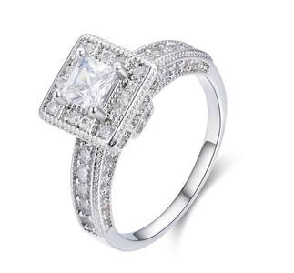 White Gold Pated Rectangular Zirconia Ring