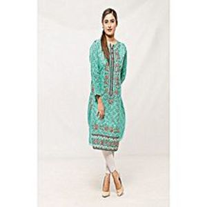 CLICKANDBUYSea Green Cotton Embroidered Kurti For Women