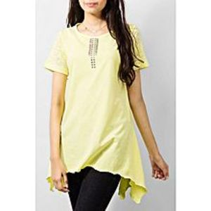 River Rock Yellow Cotton Tunic With Fancy Lace On Placket