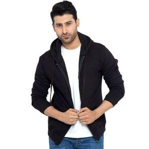 Black Cotton & Fleece Zipper Hoodie For Men