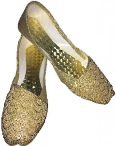 Golden Synthetic Leather Casual Khusa For Women
