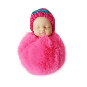 Cute Sleeping Baby Doll Keychain Soft Fur Pendant Car Bag Charm Keyring