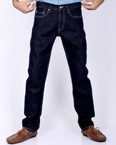 Dark Blue Basic Denim Straight-leg Jeans with Beige Thread for Men - Slim-fit -